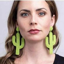 Best lady Bohemian Beads Cactus Drop Earring for Women Wedding Cute Trendy Plants Girl Party Gift Statement Earrings Jewelry