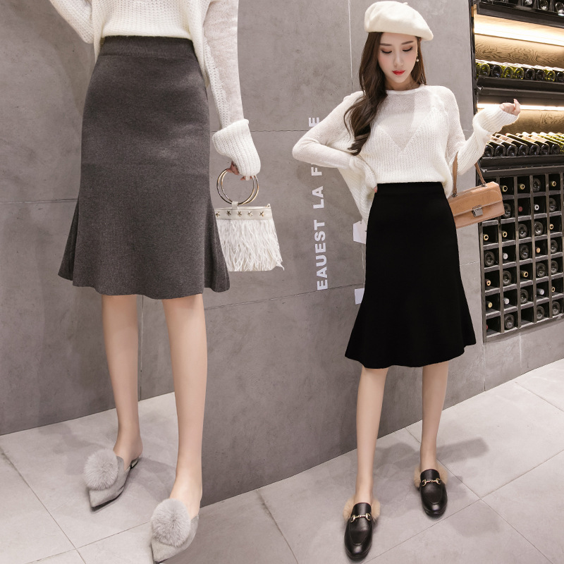 Low Price WOMEN'S Dress 2019 Autumn And Winter New Style Knitted Skirt Korean-style High-waisted Wool Skirt A- Line Midi-skirt F