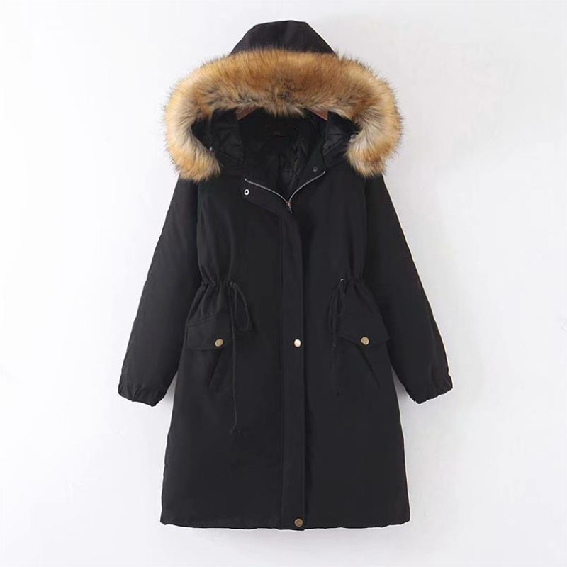 Winter women's cotton jacket casual solid color down jacket warm fashion big fur collar coat title=