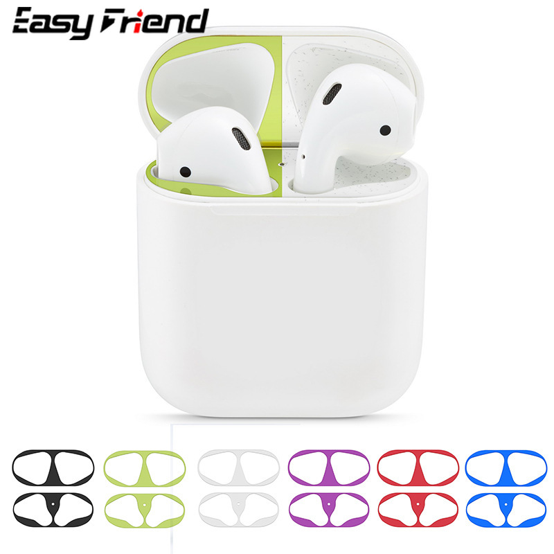 8 Colors Dust Sticker For Apple AirPods Accessory Inside Stickers Case Dust-Proof Patch Iron Metal Protective Film Cover