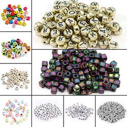 100pcs Letter Beads Square Round Letter Alphabet Beads Acrylic Beads DIY Jewelry Making Bracelet Necklace Accessories Wholesale