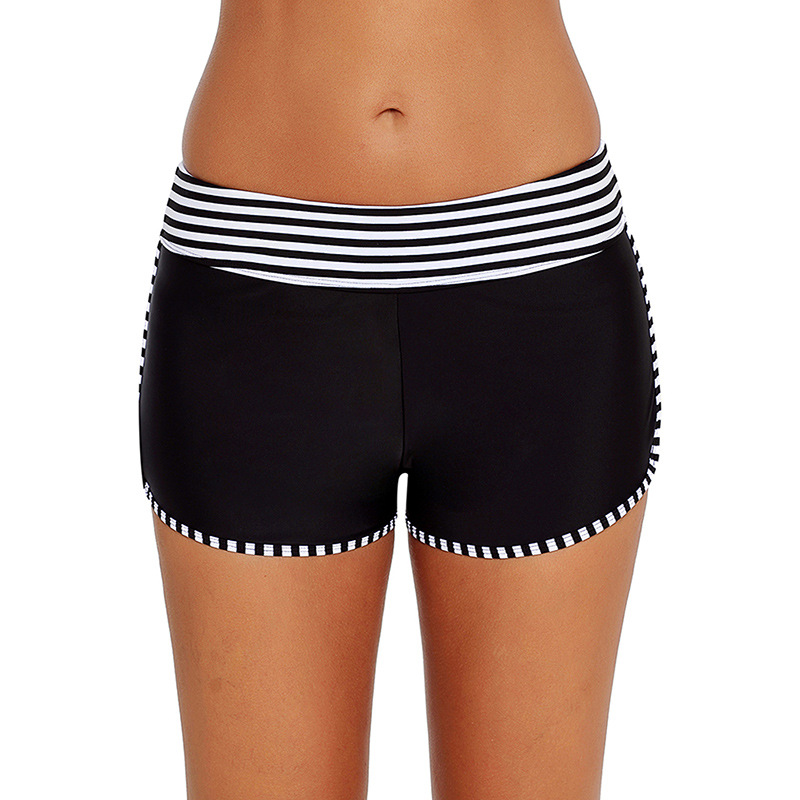 Europe And America WOMEN'S Swimming Trunks New Style Stripes Medium Waist Boxers Sexy Versatile Shorts Swimming Trunks