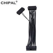 Chipal 30cm psu cabo atx 24pin macho para fêmea dupla fonte de alimentação sincronização starter add2psu extensor cabo adaptador para btc eth mineração