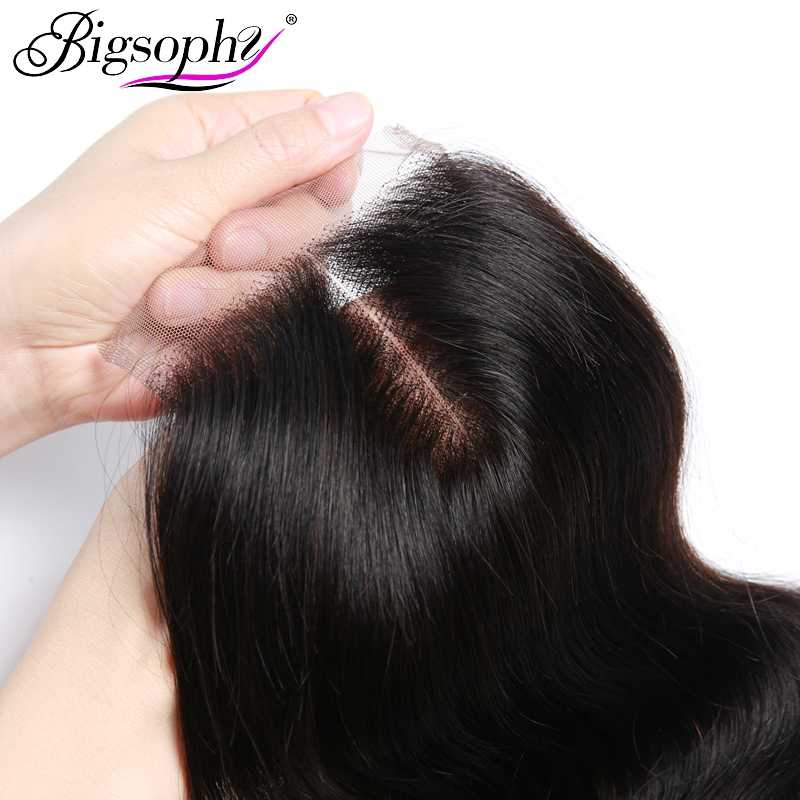 Bigsophy brasileño cuerpo onda cierre cabello humano 8-20 pulgadas 4x4 Cierre de encaje libre/parte media Remy cabello cierre chevux humain 1 pieza