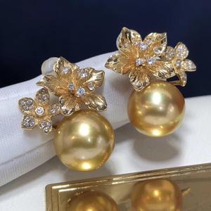 Image 5 - Boucles doreilles fines pour femmes, bijoux fins, en or 14 K purs, océan en or naturel, 11 10mm, boucles doreilles pour femmes, 1103