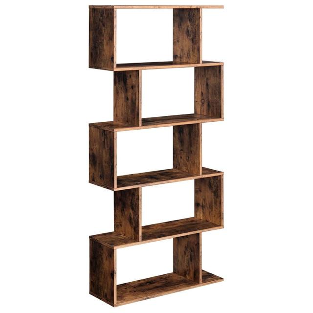 Staggered Bookcase Wooden Industrial Style 5-Tier Display Rack Room Divider Freestanding Storage Shelf Bookshelf Vintage Color 1