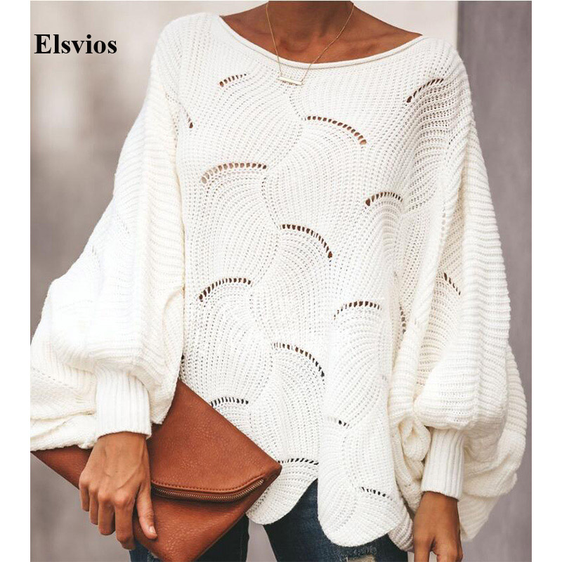 Elsvios 5XL Autumn Batwing Long Sleeve Sweater Tops Women Hollow Out Knitted Sweater Winter Casual Loose Irregular Pullovers