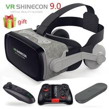 VR Shinecon 9.0 קסדה VR מציאות מדומה משקפיים 3D משקפי אוזניות קסדת עבור Smartphone חכם טלפון Google קרטון סטריאו