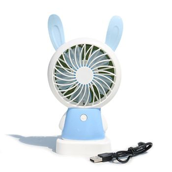 oatsbasf mini usb fan rechargeable internal battery shakeable headhome student dormitory portable mute air cooling fan 1Pcs Cartoon USB Charging Portable Handheld Electric Fan Air Conditioner Cooler Student Dormitory Cooling Fan Summer Desk Table