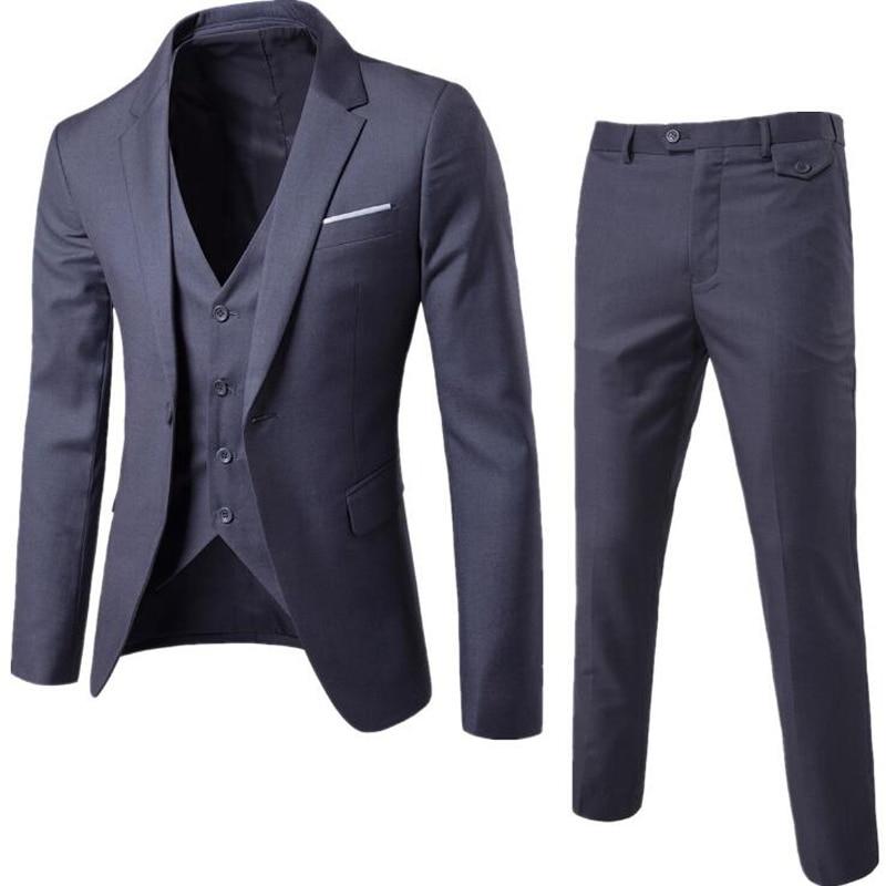 2020 Male Slim Fit Suits Blazer Business Formal Dress Waist Coat Groom Man Suit Exquisite Office Set Thin Blazer  Weeding Suit