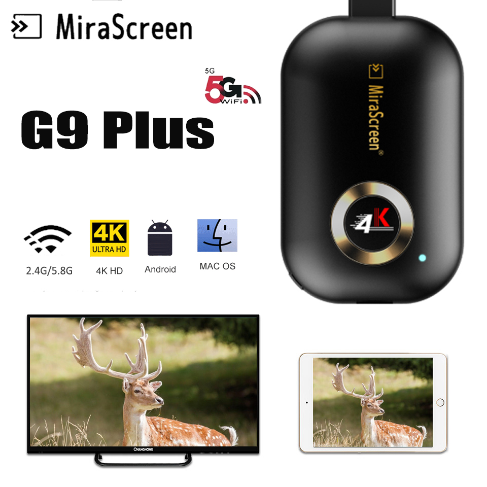 4K MiraScreen G9 Plus 2.4/5G WiFi Display Dongle Receiver HD TV Stick PC DLNA AirPlay HDMI Android TV Stick