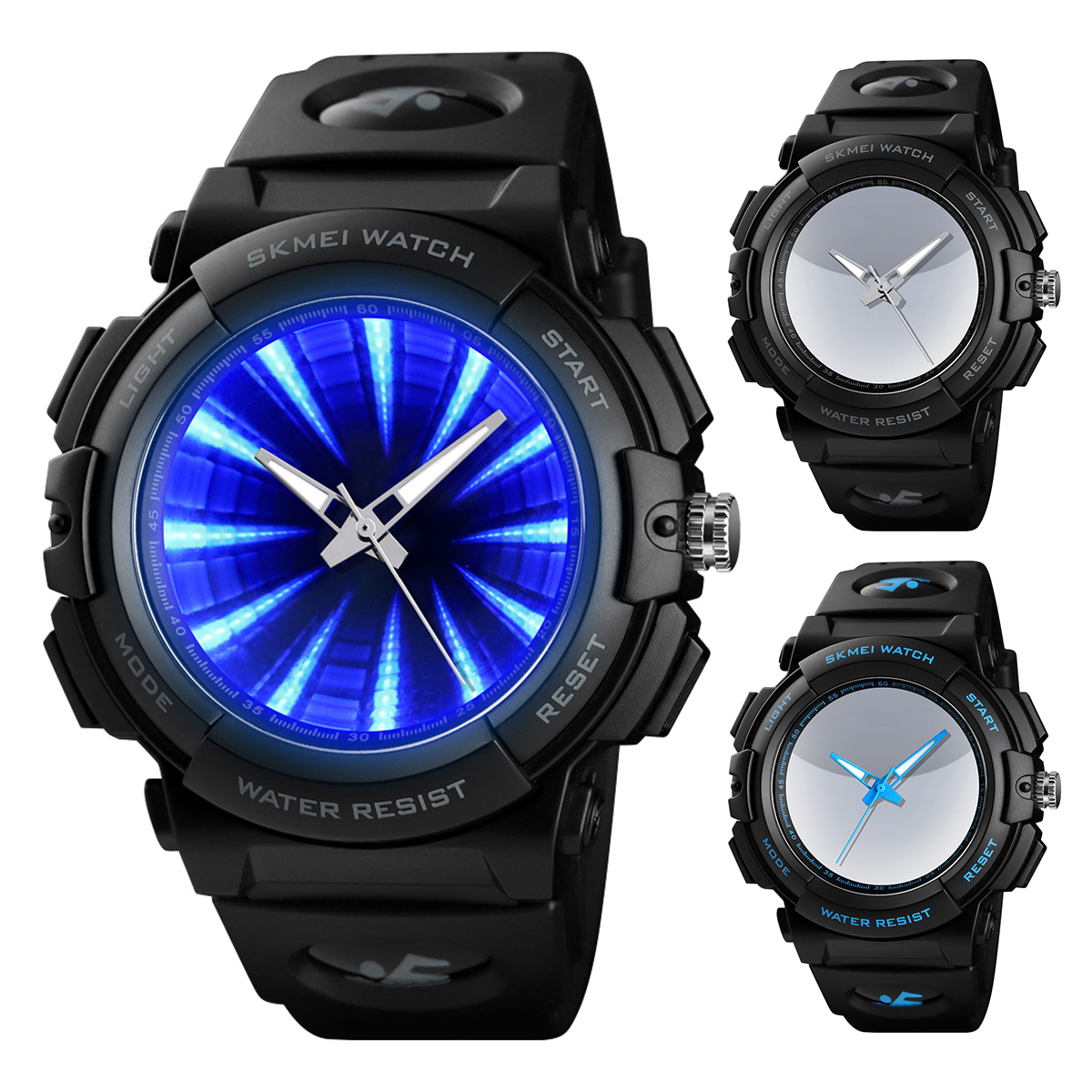 50M Waterproof Cool And Stylish Men Fashion Blue Black LED Backlight Sports Watch Analog Quartz Wrist Watch