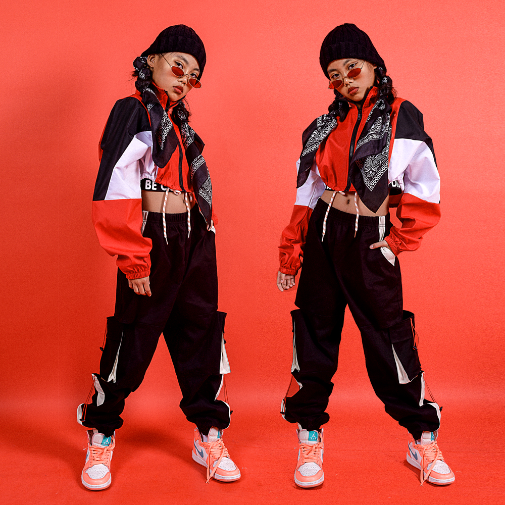 Children'S Jazz Dance Costumes Red Jacket Sweatpants Suit Hip Hop Clothing For Girls Ballroom Modern Dancing Clothes DQS3279