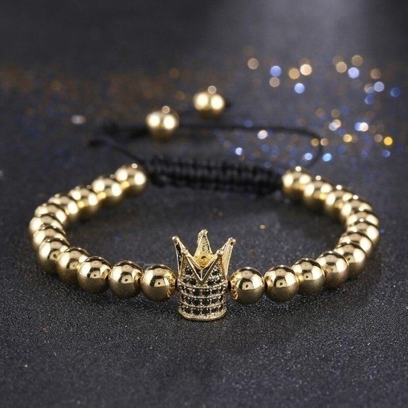Fashion Men s Gold Color Imperial Micro Pave Crystal Crown Charm Bracelet Anil Arjandas Braiding Weave