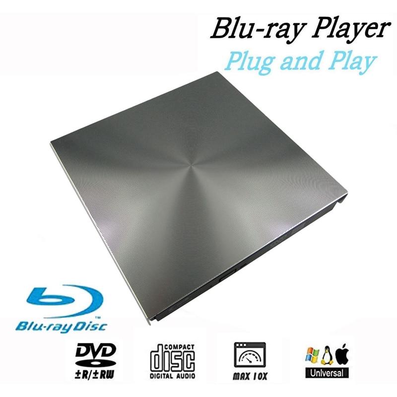 Zewnętrzne 3D Blu Ray napęd DVD USB 3.0 BD CD nagrywarka DVD odtwarzacz pisarz czytnik dla systemu Mac OS Windows 7/8.1/10/Linxus,Laptop, komputer