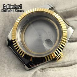 Miuksi 39mm szafirowe szkło zegarek case fit ETA 2824 2836 NH35 36 Miyota 8215 821A 8205 mewa 1612 ruch mężczyzna zegarki przypadku