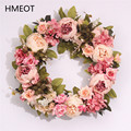 Искусственные цветы 40 см, венки для дверей, белые, розовые Искусственные цветы, Декор для дома, подвесные настенные праздничные вечерние шен...