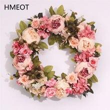 40cm Künstliche Blumen Kränze Für Türen Weiß Rosa Seide Blume Garland Home Decor Hängen Wand Festival Partei Liefert Geschenke