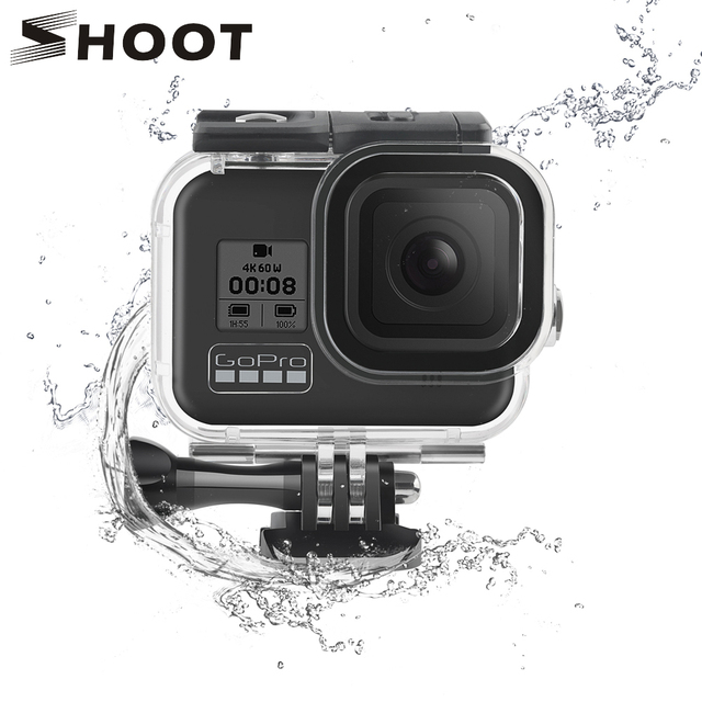 SHOOT 60M Underwater Waterproof Housing Case for GoPro Hero 8 Black Camera Diving Protective Dive Cover for Go Pro 8 Accessories