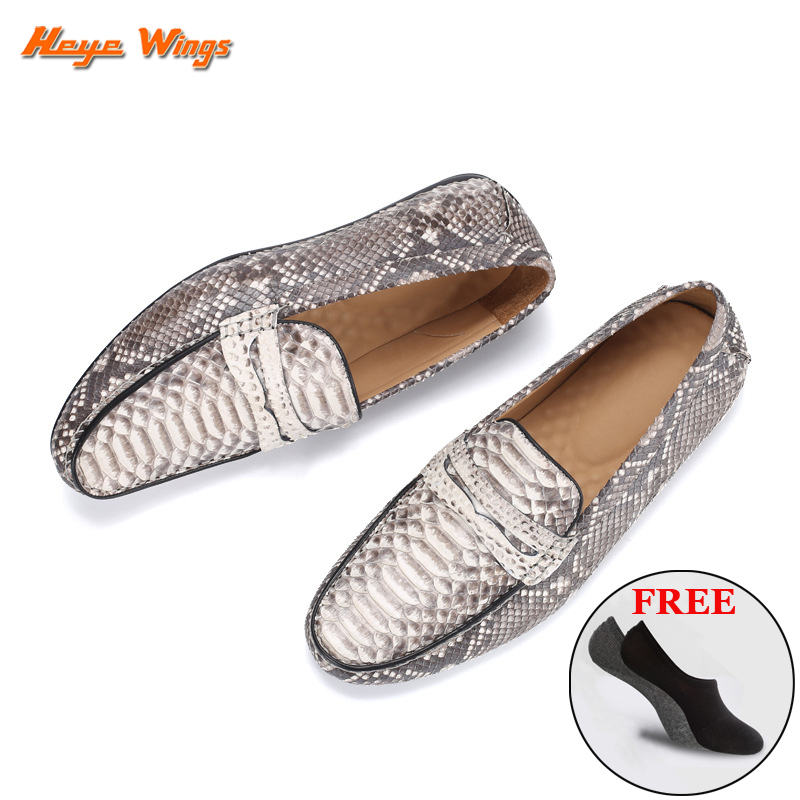 High Quality Python Leather Casual Shoes Fashion Leisure Loafers Handmade Luxury Shoes Slip-on