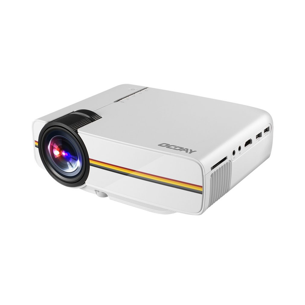 OCDAY Portable Lightweight HDMI Adjustable Cost-efficient Multi-media Home Theater LCD Imaging HD LED Digital Projector White