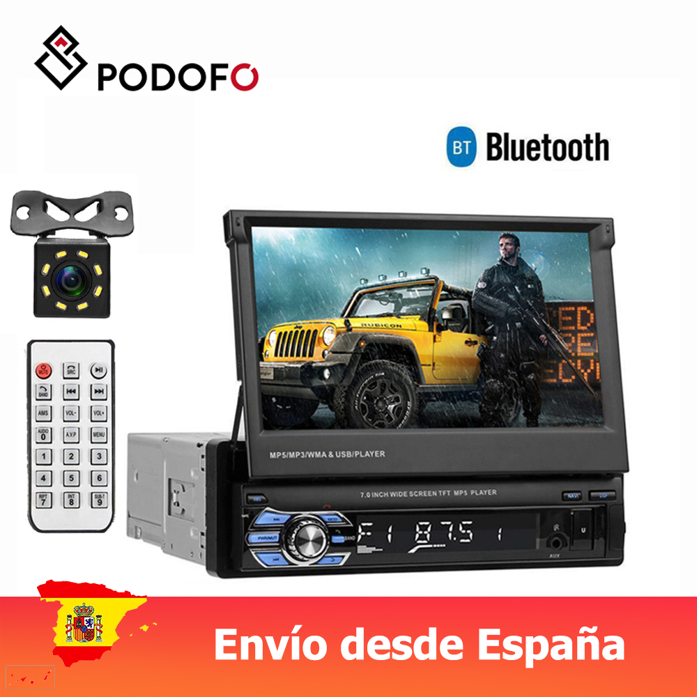 Podofo Car Stereo audio Radio Bluetooth 1DIN 7 HD Retractable Touch Screen Monitor MP5 SD FM USB Player Rear View Camera image