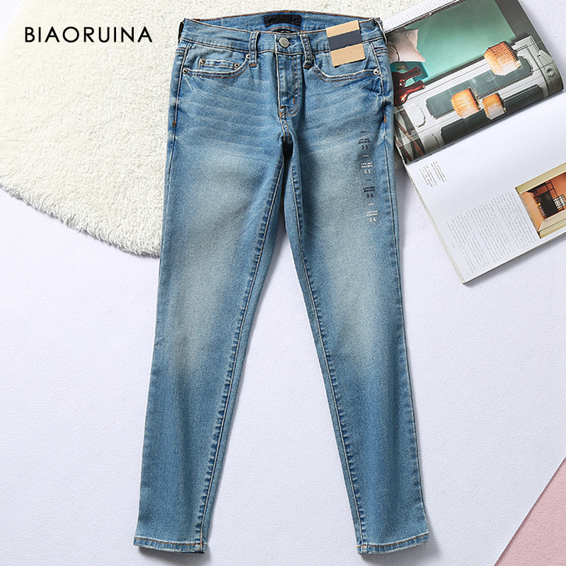 BIAORUINA Women's Low-rise Stretch Washing Bleached Casual Pencil Jeans Female Skinny Fashion Classic Jeans New Arrival