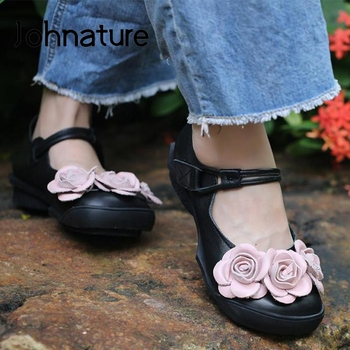 Johnature Pumps Women Shoes 2020 New Spring Retro Flower Genuine Leather Round Toe Hook & Loop Handmade Casual Ladies Shoes