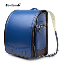 Coulomb Randoseru Kid PU Solid Children's school bag 2020 new style contrast color design for boy Japanese Student Backpack