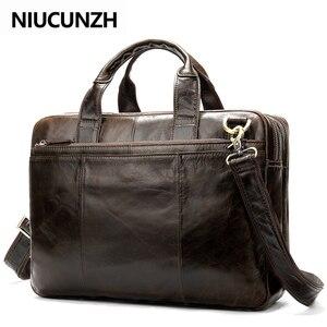 Сумка niusunzh Мужская, для ноутбука 14 дюймов, из натуральной кожи