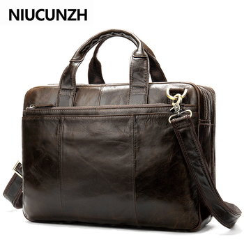 NIUCUNZH Business Briefcases Bags Men's Genuine Leather Bag For Document 14 Inch Laptop Bag Leather Briefcases Bags For Men