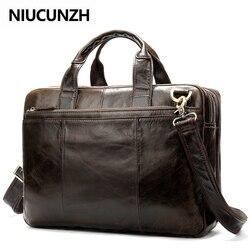 NIUCUNZH affaires porte-documents sacs hommes en cuir véritable sac pour Document 14 pouces pochette d'ordinateur en cuir porte-documents sacs pour hommes