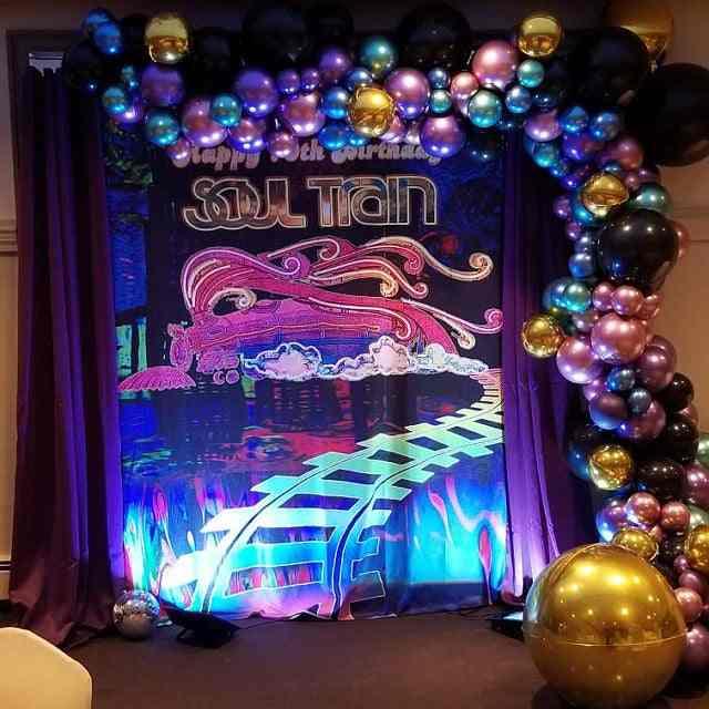 Fotografia tło dusza pociąg foto budka rekwizyty dekoracje świąteczne Disco baner urodzinowy tło do zdjęć TV taniec tło