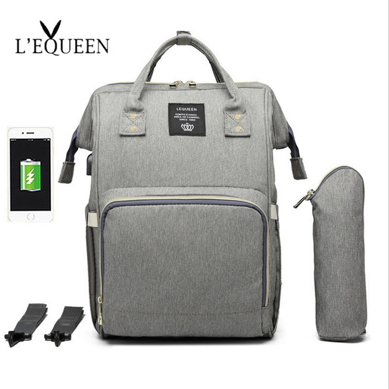 LEQUEEN USB Diaper Bag Baby Care Large Capacity Mom Backpack Mummy Maternity Wet Bag Waterproof  Baby Pregnant Bag