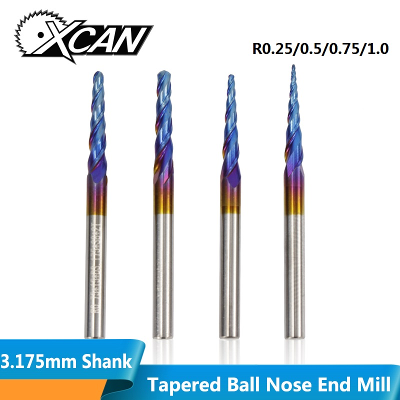XCAN 1pc 3.175mm Shank Tapered Ball Nose Milling Cutter R0.25/0.5/0.75/1.0 Nano Blue Coated HRC55 Carbide End Mill 2 Flute Engra