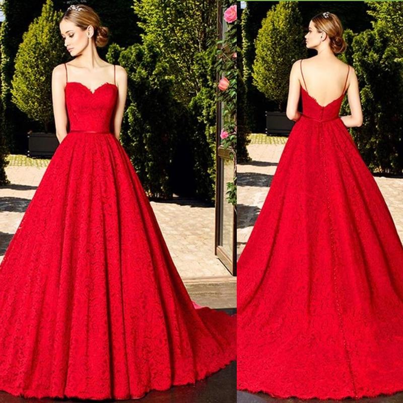 Spaghetti Straps Red Wedding Dress Robe De Mariee Bride Dress Vestido Novia Sweetheart Backless Lace Wedding Gowns