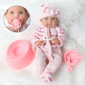 Мягкая силиконовая Кукла Reborn, 40 см, полный набор игрушек, 16 дюймов, водонепроницаемая Реалистичная кукла Boneca для новорожденных, игрушки для ...
