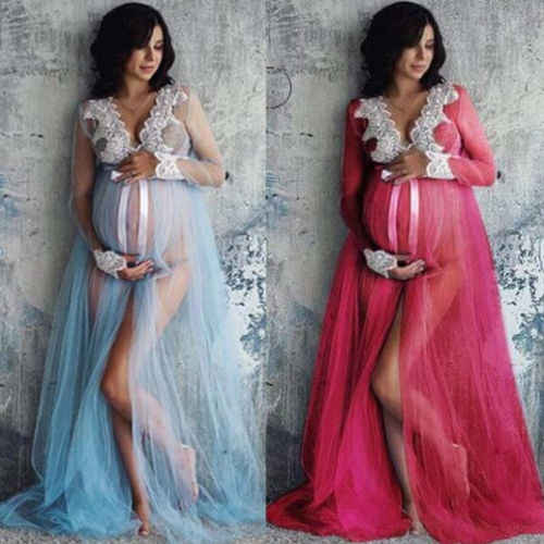 Mujeres embarazadas vestido fotografía sesión fotográfica manga larga maternidad encaje Maxi vestido vestidos de embarazo ropa