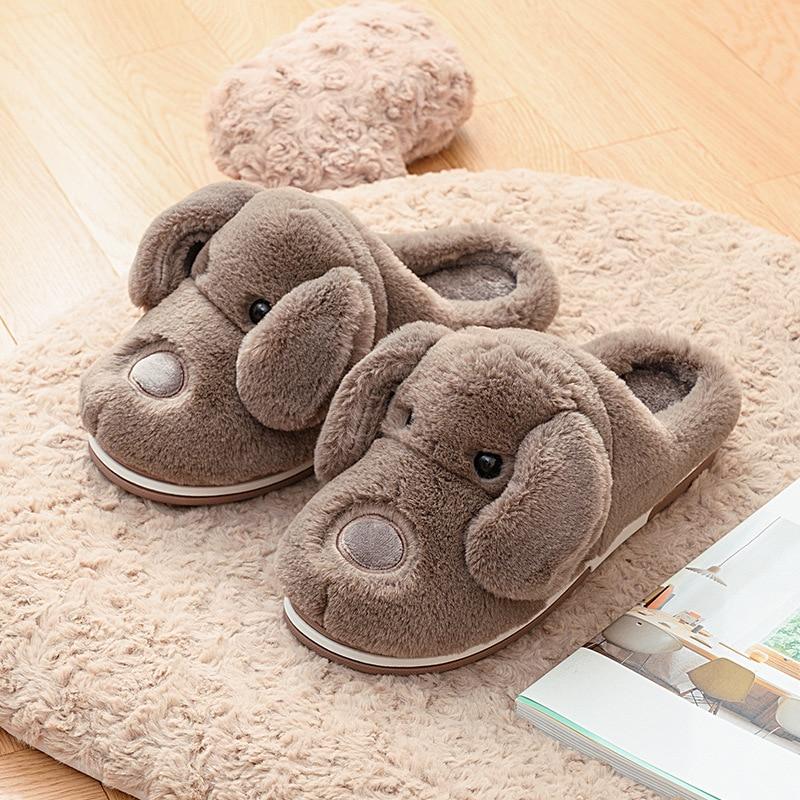 Coslony Men Slippers Flips Flops Winter Warm Cute Dog Shoes Man Fashion Platform Sandals Slides Non-slip Flats Indoor