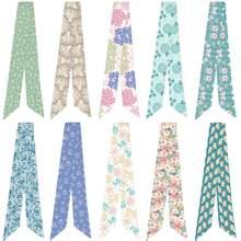 Новый маленький шелковый шарф с цветочным принтом модный головной