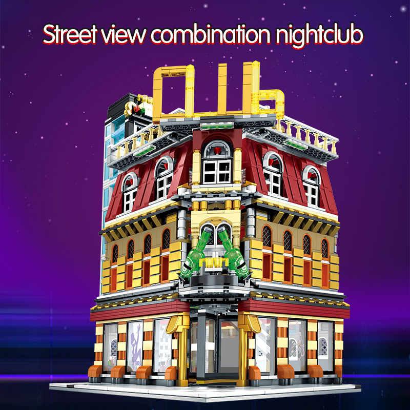 SEMBO 5-in-1 USB Licht Nachtclub Haus Bausteine Stadt Street View Serie Figuren Bricks Bildung Spielzeug für Kid