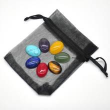 1 Set 7 Chakra Stones Natural Healing Crystal Engraved Reiki Gemstones Worry Flat Spiritual Quartz