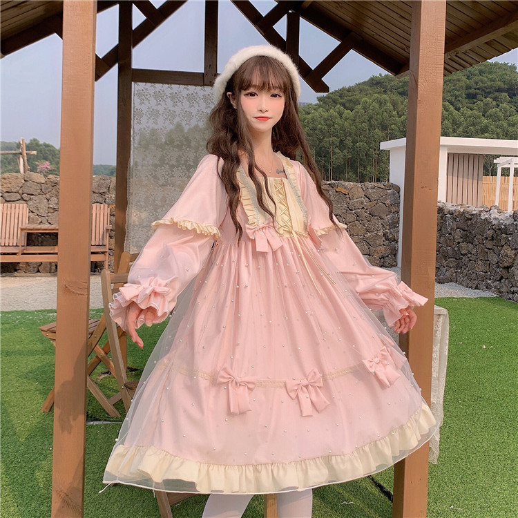 Sweet Pink Blue Lolita Dress Mesh Skirt Cute Bow Pearl Ruffles Princess Fairy Squared Collar Puff Sleeves Girls Women Dress