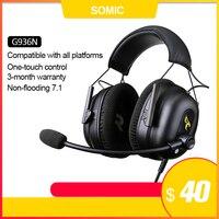 SOMIC G936N игровые наушники 7.1 Виртуальные игровые гарнитуры Объемный звук USB 3,5 мм Наушники с шумоподавлением для игр для ПК PS4 гарнитура геймер ...