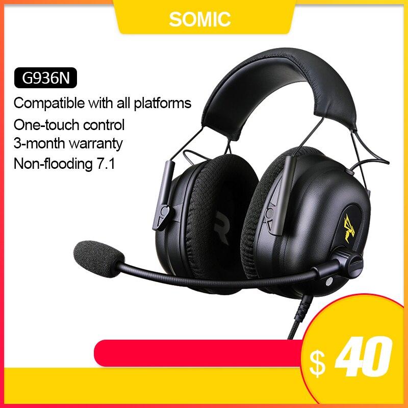 SOMIC G936N Gamer ecouteurs 7.1 jeux virtuels casques Surround son USB 3.5mm bruit suppression casque pour PS4 PC jeux