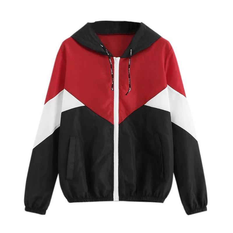 Patchwork Women Fashion Hooded Jacket Splicing Color Zipper Casual Coat female jacket