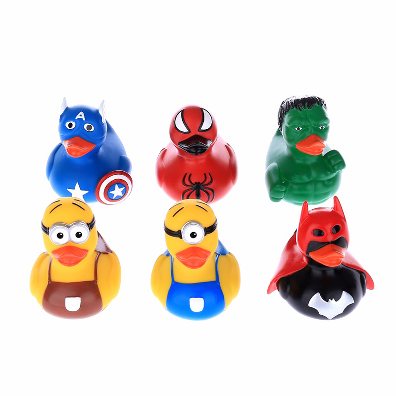 6PCS Classic Bathing Toy Rubber Duck Cartoon Marvel Super Hero Series Duck Children Bath Shower Water Toy Game Christmas Gifts