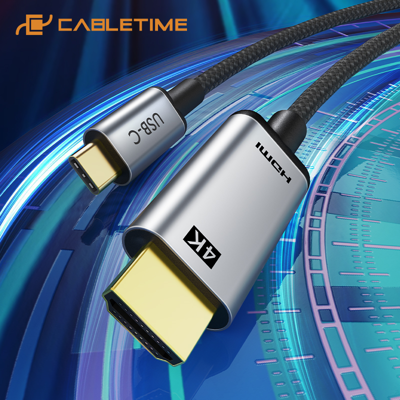 Кабель CABLETIME с USB C на HDMI, 4k, hdmi-кабель 4K, 60 Гц, Type C, HDMI, Thunderbolt 3, для Samsung, Huawei mate 20, pro USB-C HDM C029