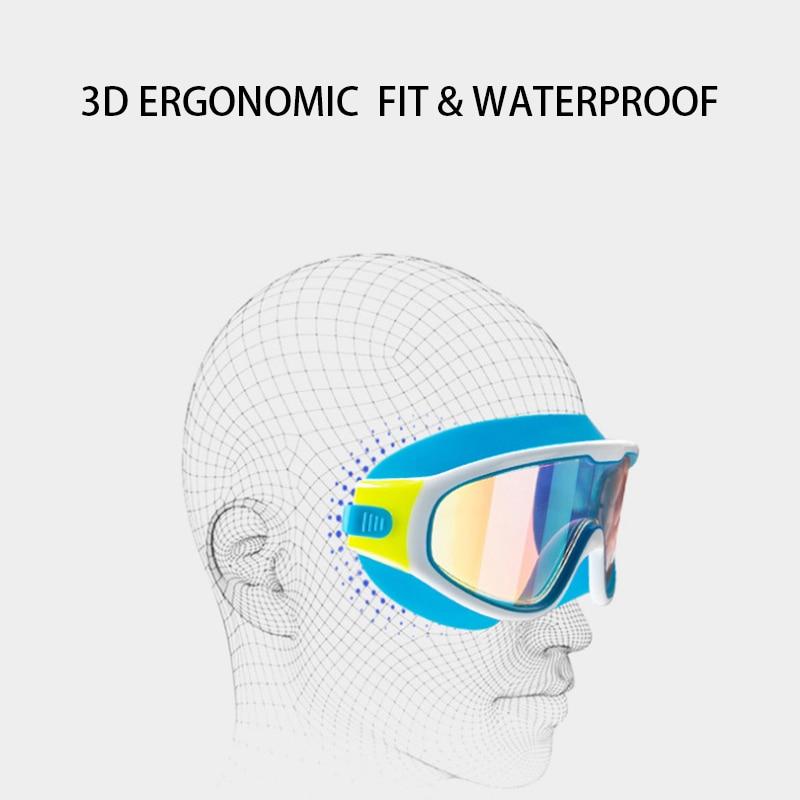 MAXJULI gogle pływackie dla dzieci Anti-Fog ochrona UV Clear Wide Vision gogle pływackie z zatyczką do uszu dla 4-15 lat dzieci SY5031