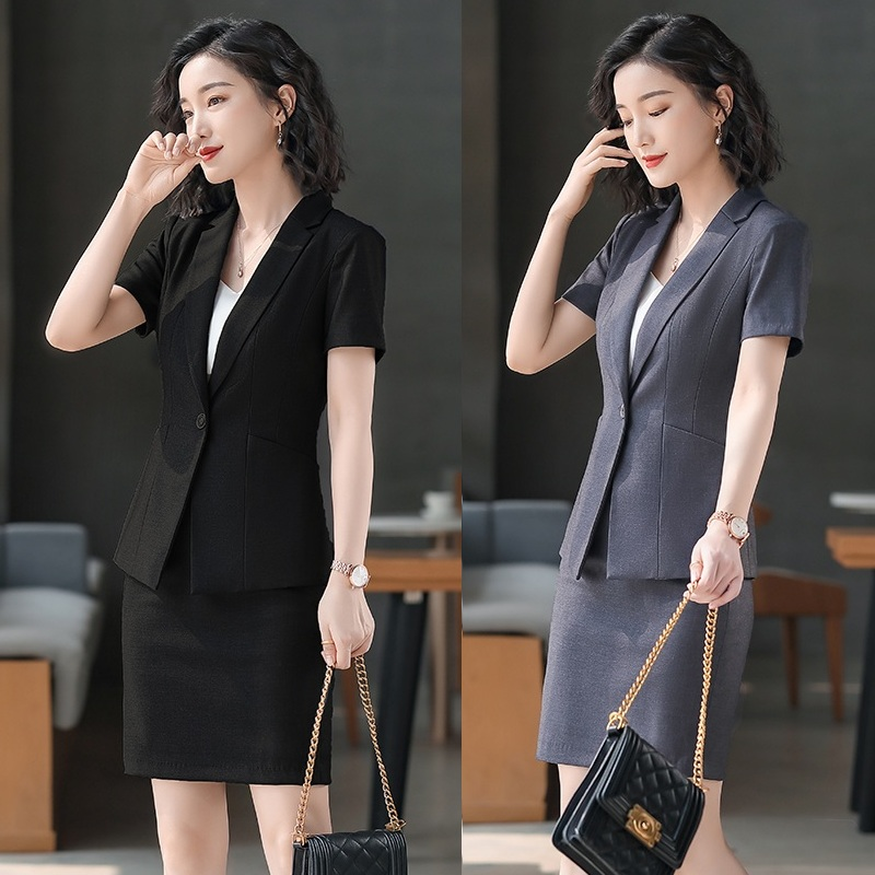 Female Elegant Formal Office Work Wear Summer Ladies Black Blazer Women Business Suits with Skirt and Jacket Sets Uniform Style
